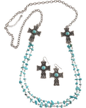 Shyanne Women's Turquoise Stone Cross Jewelry Set, Turquoise, hi-res