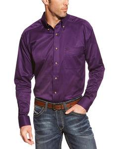 Ariat Men's Purple Solid Twill Western Shirt , , hi-res