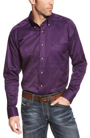 Ariat Men's Purple Solid Twill Western Shirt - Big & Tall , Black, hi-res