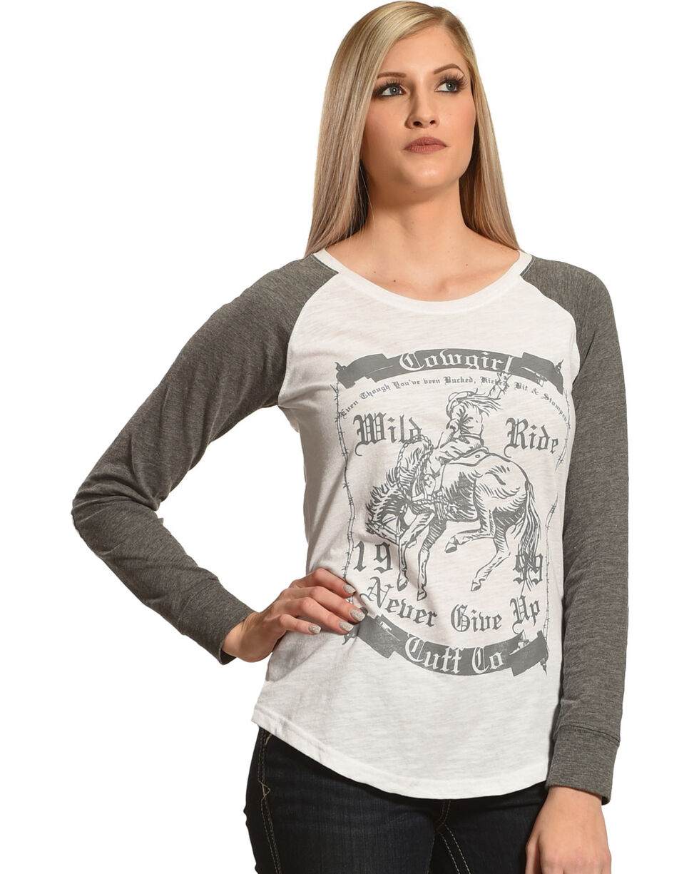 Cowgirl Tuff Women's Never Give Up Burnout Baseball Tee, Grey, hi-res