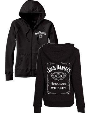 Jack Daniel's Women's Zip Up Label Graphic Hoodie, Black, hi-res