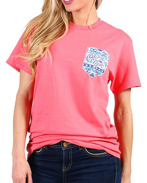 Cherished Girl Jesus Christ Monogram Tee , Coral, hi-res