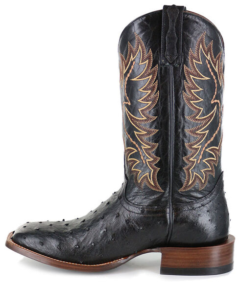 Cody James Men's Full Quill Ostrich Exotic Boots - Square Toe , Black, hi-res
