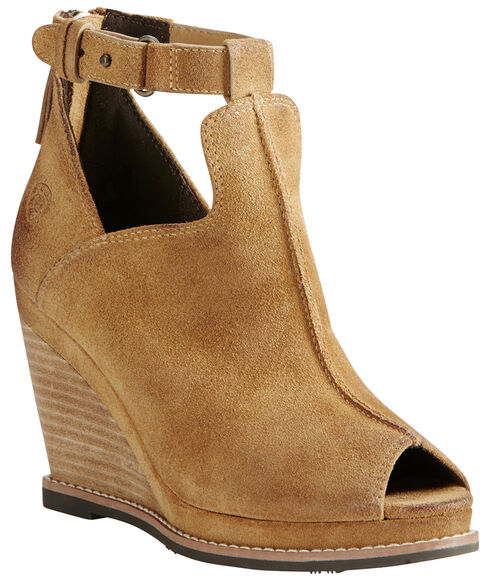 Ariat Women's Tan Backstage Peep-Toe Wedges, Sand, hi-res