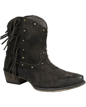 Roper Women's Black Fringe Short Boots - Snip Toe, Brown, hi-res