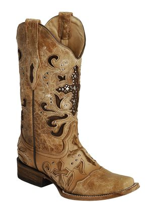 Corral Studded Cross Inlay Cowgirl Boots - Square Toe, Saddle Tan, hi-res