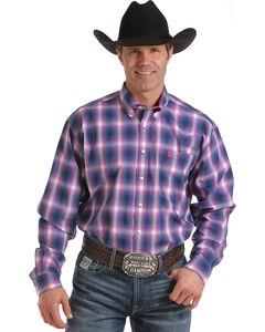 Cinch Men's Blue One Pocket Contrasting Long Sleeve Plaid Shirt , Blue, hi-res