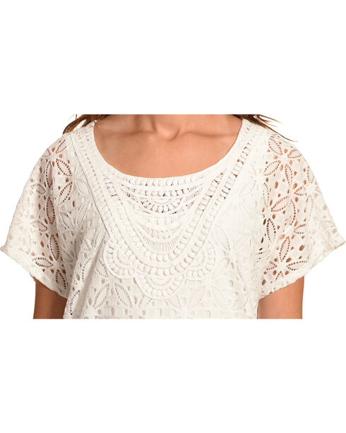 Ruby Rd. Women's Scoop Neck Lace Butterfly Top, White, hi-res