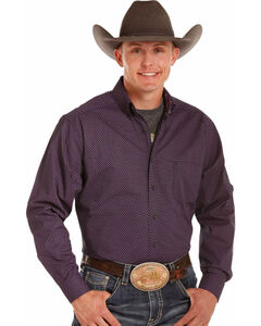 Tuf Cooper Performance by Panhandle Men's Purple Geo Print Shirt , Pink, hi-res