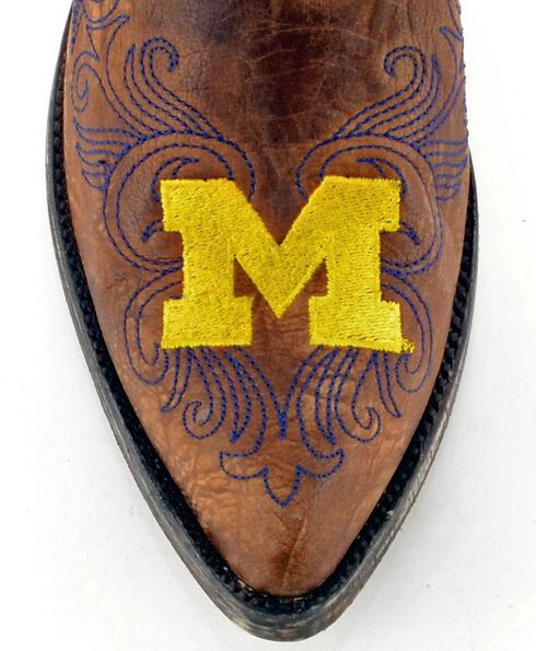 Gameday University of Michigan Cowgirl Boots - Pointed Toe, Brass, hi-res