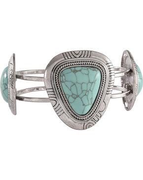 Shyanne Women's Turquoise Stone Hinged Cuff Bracelet, Turquoise, hi-res