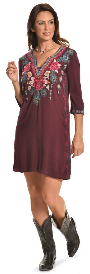 3J Workshop Women's Merlot Janine Short Kaftan , Red, hi-res