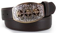 Cody James Men's Bullet Buckle Leather Belt, Brown, hi-res