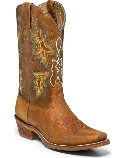 """Nocona Men's 12"""" Vintage Cowboy Boots - Square Toe, Tan, hi-res"""