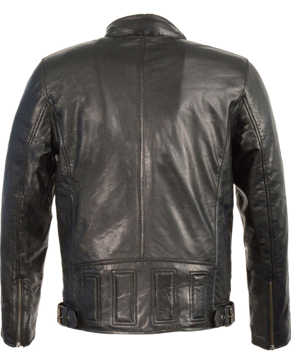 Milwaukee Leather Men's Stand Up Collar Leather Jacket  , Black, hi-res