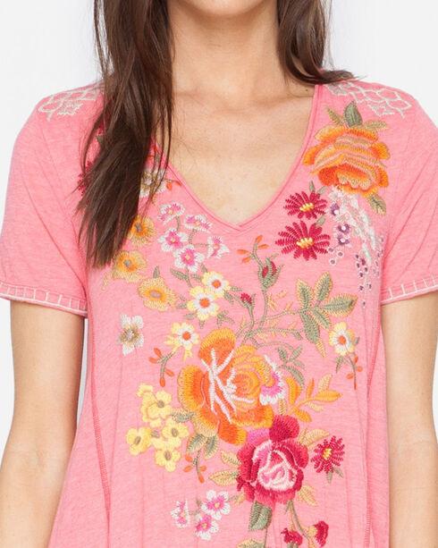 Johnny Was Women's Karlota Draped T-Shirt Tunic Dress , Coral, hi-res