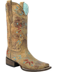Corral Vintage Saddle Embroidered Cowgirl Boots - Square Toe, , hi-res