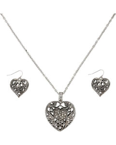 Shyanne Women's Filigree Heart Jewelry Set, Silver, hi-res