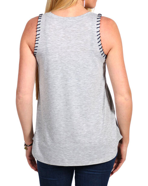 Shyanne Women's Whip Stitch Cactus Graphic Tank , Heather Grey, hi-res