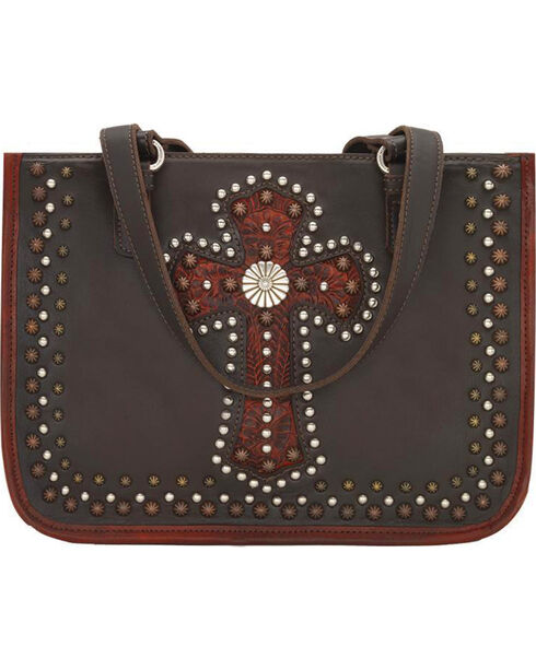 American West Women's Red Leather Zip Top Tote , Red, hi-res