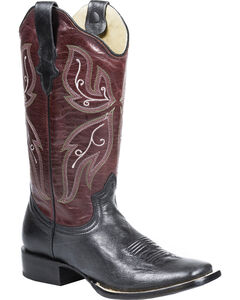 Roper Wine and Black Cowgirl Boots - Square Toe, Black, hi-res
