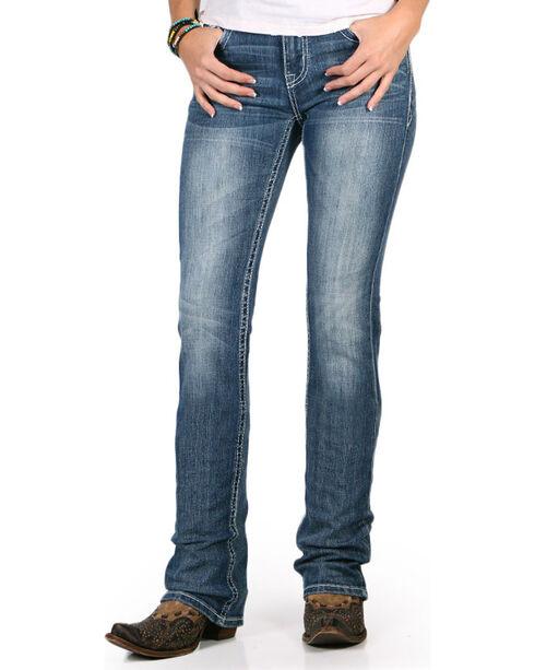 Grace in LA Women's Easy Fit Aztec Sequin Pocket Jeans - Boot Cut , Blue, hi-res