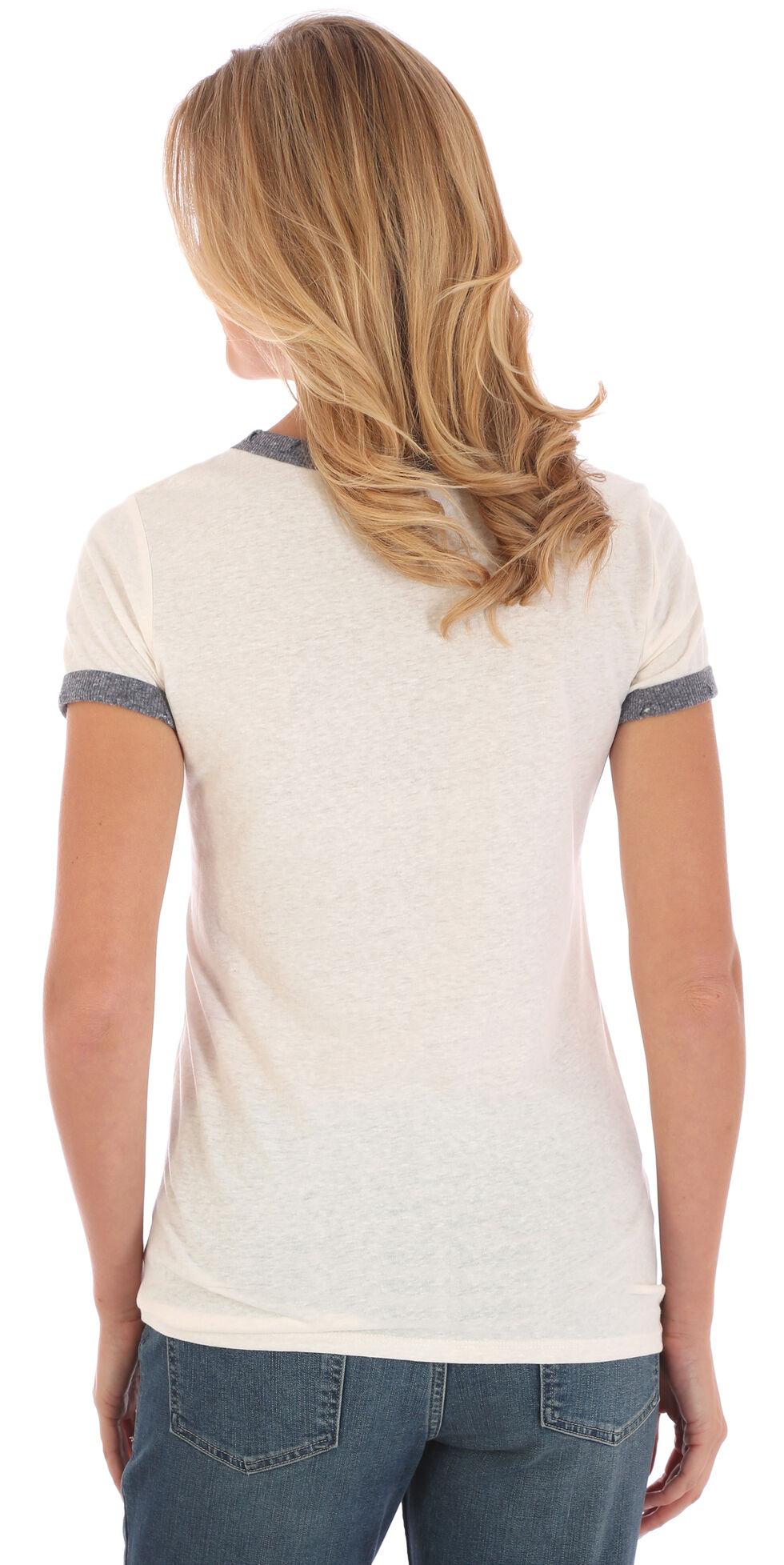 Wrangler Women's White and Blue Ringer T-Shirt , White, hi-res