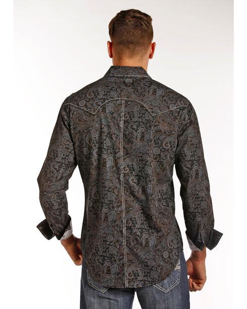 Rock & Roll Cowboy Men's Grey Paisley Print Shirt , Grey, hi-res