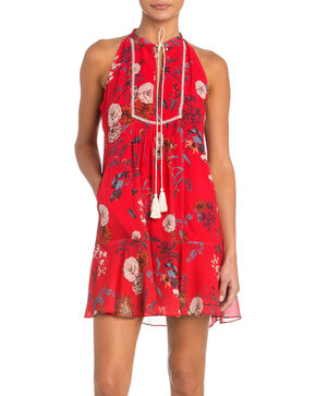 Miss Me Floral Print Dress with Tie Detail, Red, hi-res