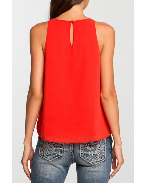 Miss Me Women's Coral Keyhole Tank Top , Coral, hi-res