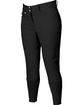 Dublin Everyday Shapely Euro Seat Front Zip Breeches, Black, hi-res