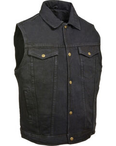 Milwaukee Leather Men's Snap Front Denim Vest w/ Shirt Collar- Big - 4X, Black, hi-res
