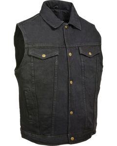 Milwaukee Leather Men's Snap Front Denim Vest w/ Shirt Collar- Big - 5X, Black, hi-res