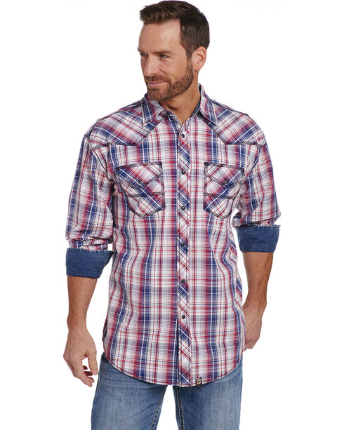 Cowboy Up Men's Red Plaid Long Sleeve Shirt , Red, hi-res