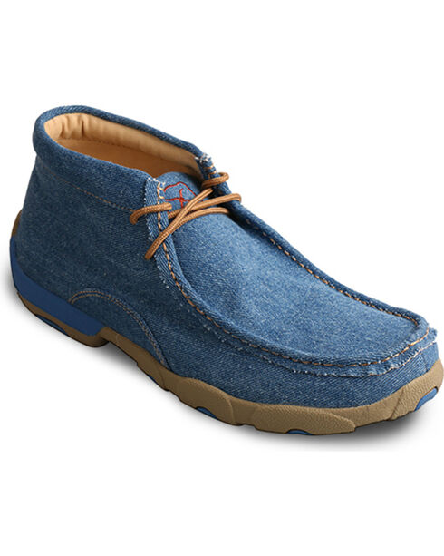 Twisted X Men's Blue Denim Driving Moccasins - Moc Toe, Blue, hi-res