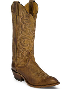 Justin Bent Rail Brown Tiger Eye Cowhide Cowgirl Boots - Round Toe , Tan, hi-res