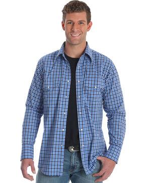 Wrangler Men's Blue Plaid Wrinkle Resistant Western Shirt - Tall , Blue, hi-res