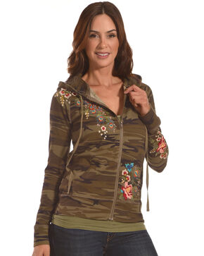 Johnny Was Women's Camo Vernazza Embroidered Zip-Front Hoodie , Camouflage, hi-res