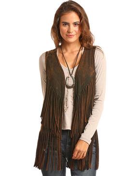Rock & Roll Cowgirl Women's Brown Double Fringe Vest , Brown, hi-res