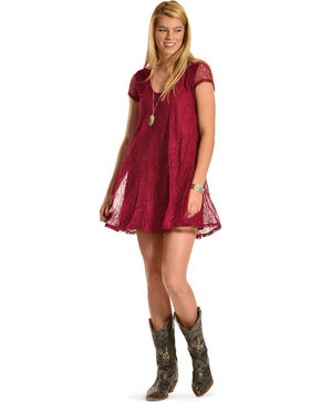 Others Follow Women's Midnight Kiss Lace Tunic Dress, Dark Red, hi-res