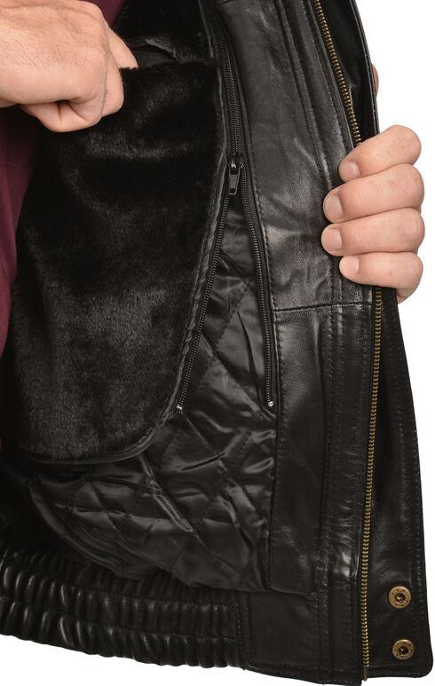 Vintage Leather Zip Out Lining Black Lambskin Bomber Jacket, Black, hi-res