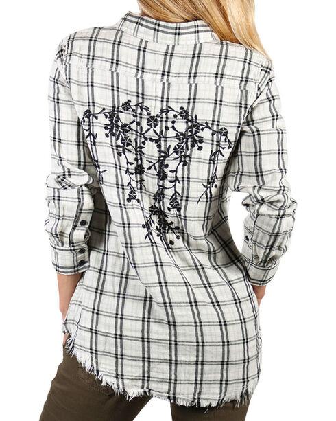 Miss Me Women's White Hidden Romance Plaid Shirt , White, hi-res