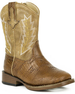 Roper Toddler Boys' Charlie Embossed Caiman Cowboy Boots - Square Toe, Brown, hi-res
