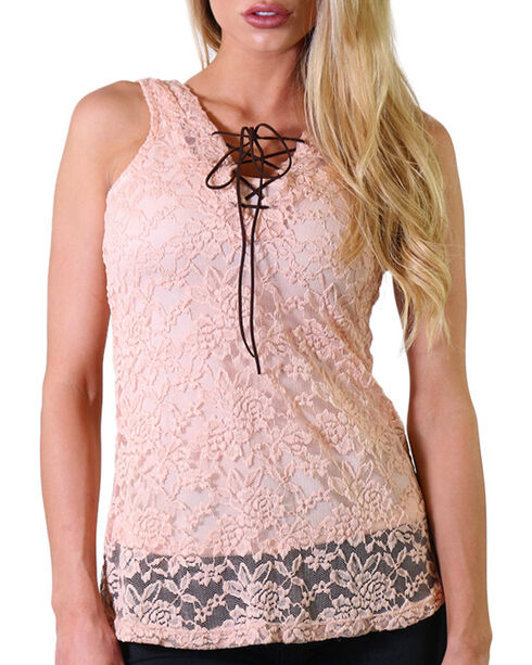 Jody of California Women's Lace-Up Tank, Light/pastel Pink, hi-res
