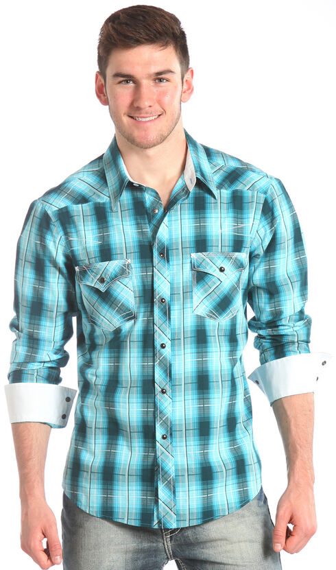 Rock and Roll Cowboy Blue Plaid Ombre Western Shirt , Blue, hi-res