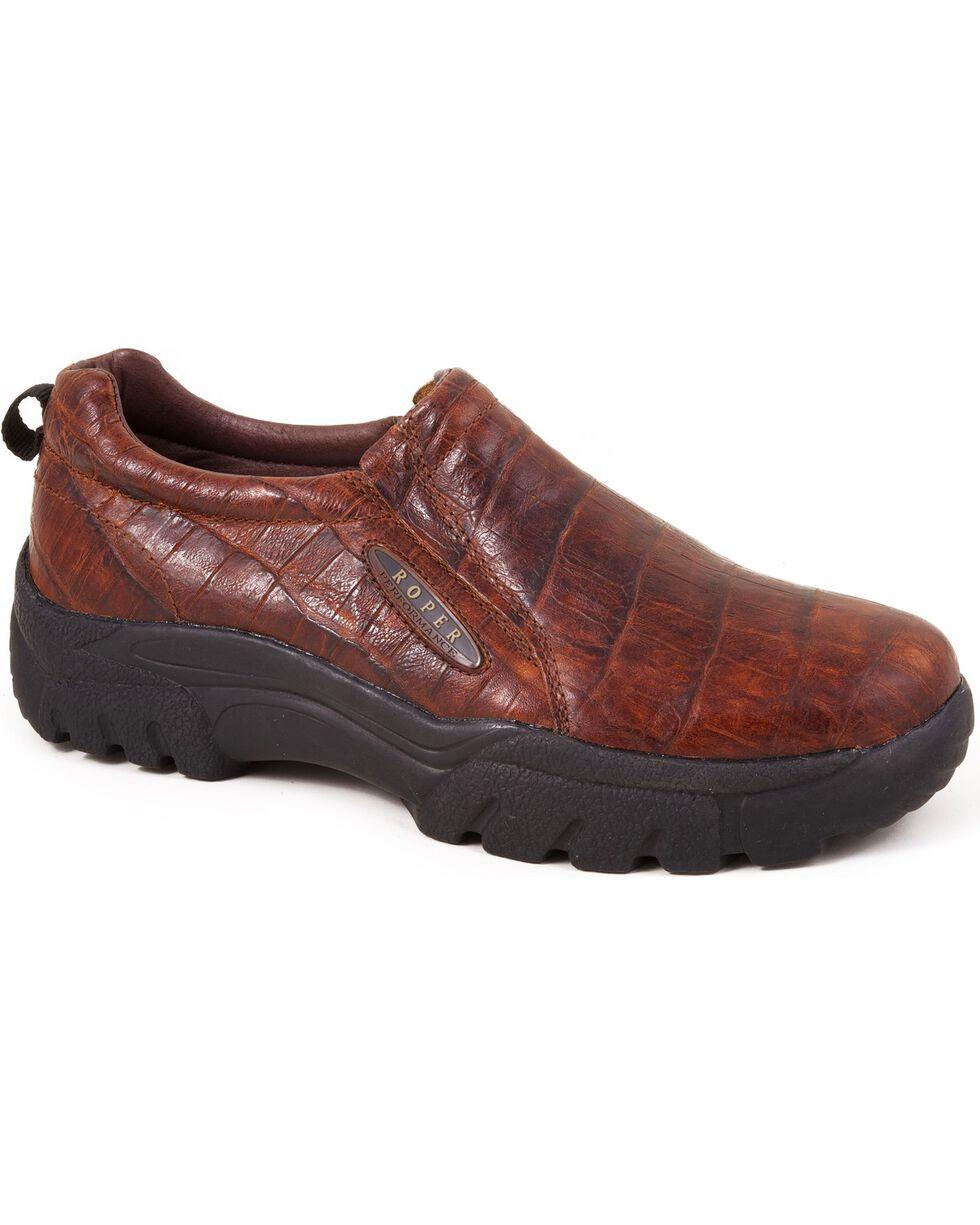 Roper Performance Croc Print Slip-On Shoes - Round Toe, Redwood, hi-res