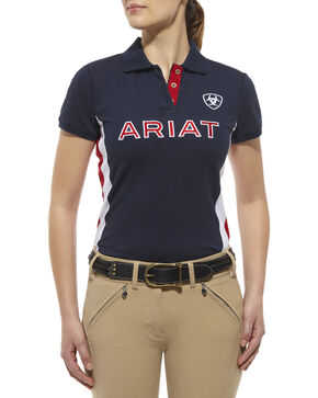 Ariat Women's Team Logo Polo, Navy, hi-res
