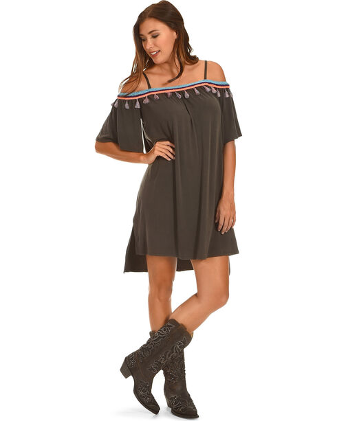 Ces Femme Women's Tassel Detail Cold Shoulder Dress , Grey, hi-res