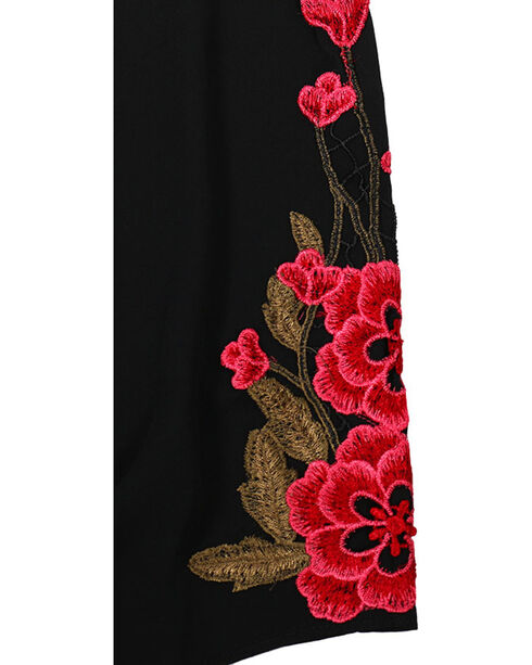 Moa Moa Women's Embroidered Off The Shoulder Top, Black, hi-res