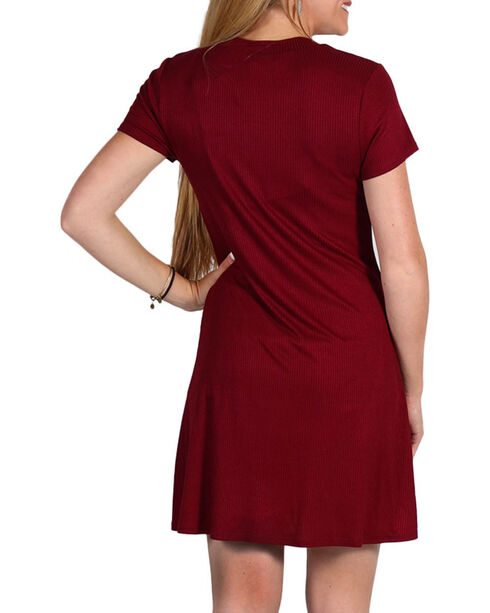 Luna Chix Women's Lace Up Dress, Burgundy, hi-res